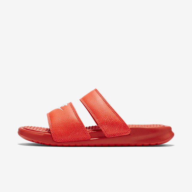Red Nike Sandals With Two Straps On The Hunt