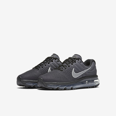 Men's/Women's Nike Air Max 2017 Leather Shoes Black/White