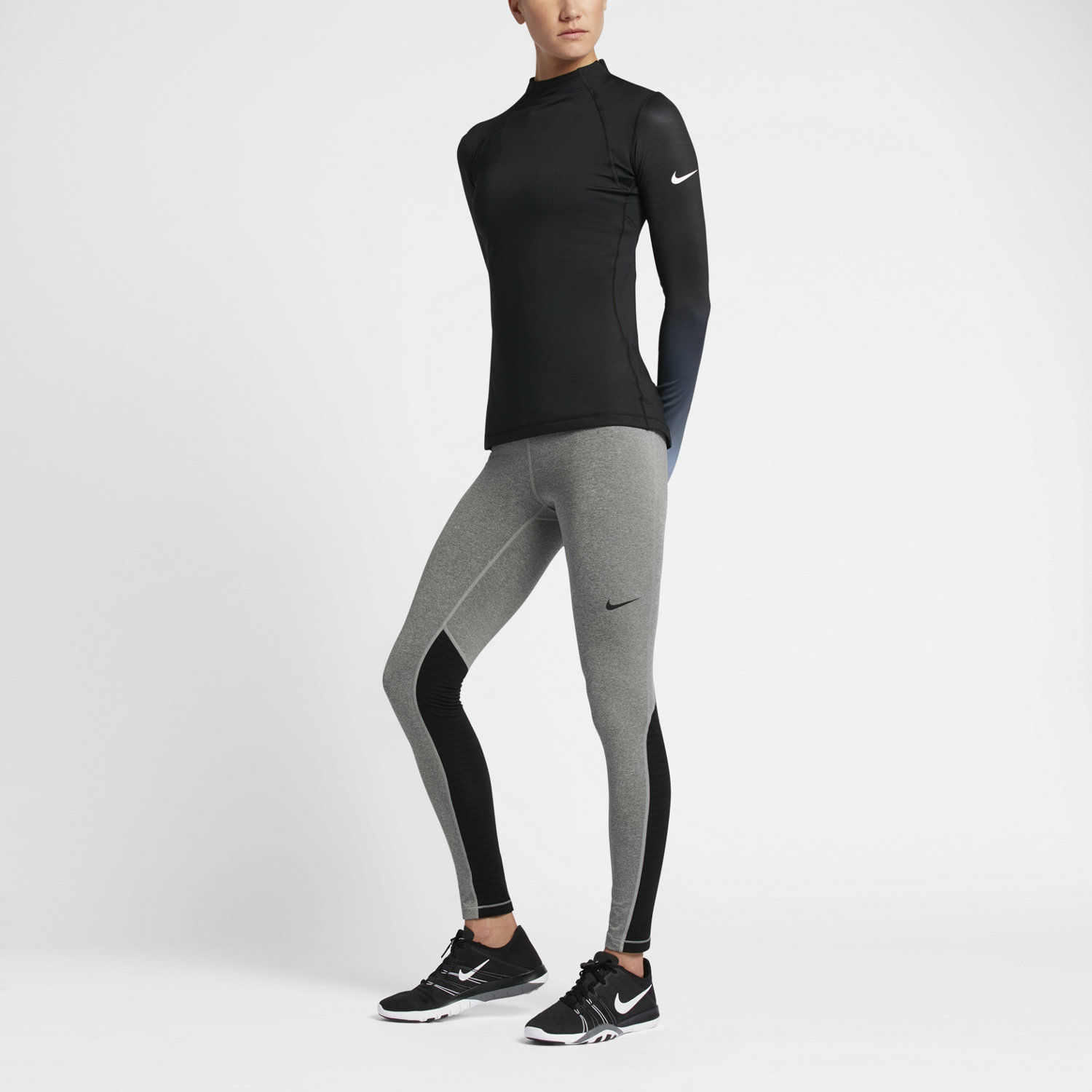 mallas nike pro mujer gris